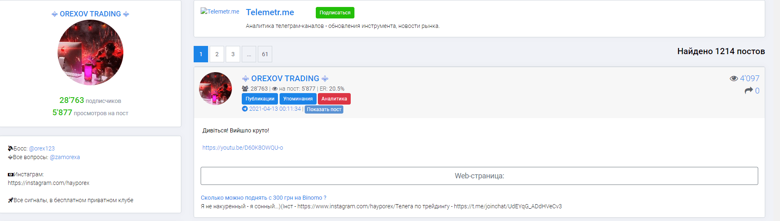 телеграмм orexov trading