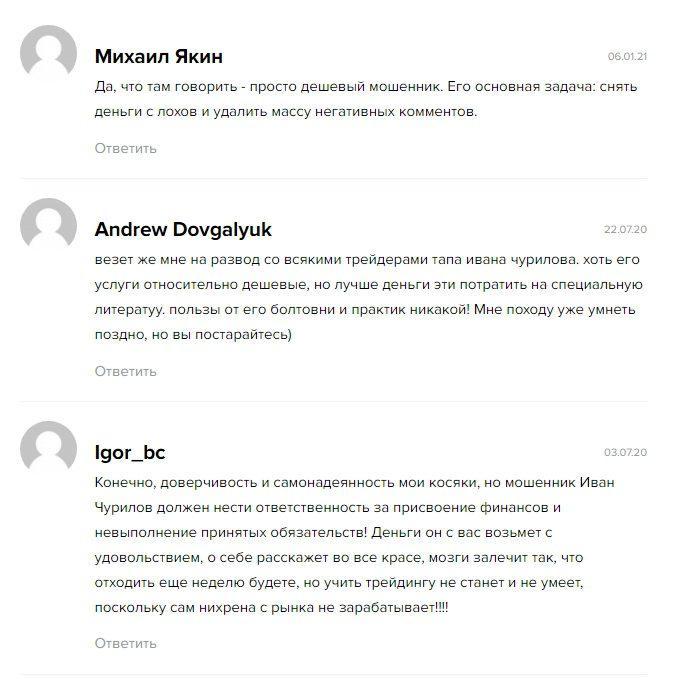 Отзывы об Иване Чурилове