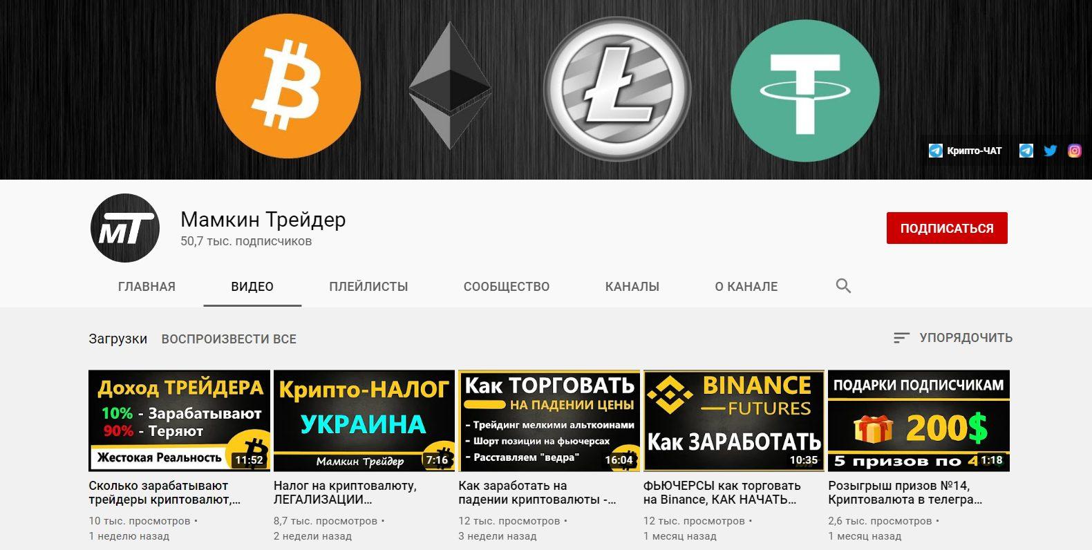 Ютуб-канал проекта «Мамкин трейдер»