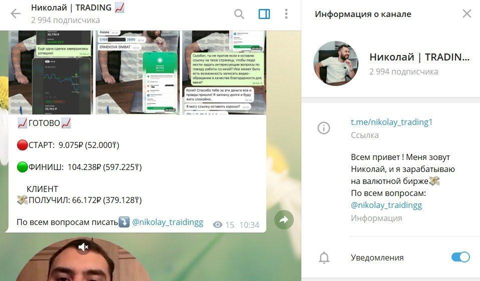 Телеграм проекта Nikolay Trading