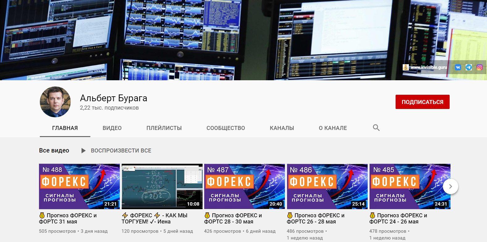 Ютуб канал Альберта Бураги