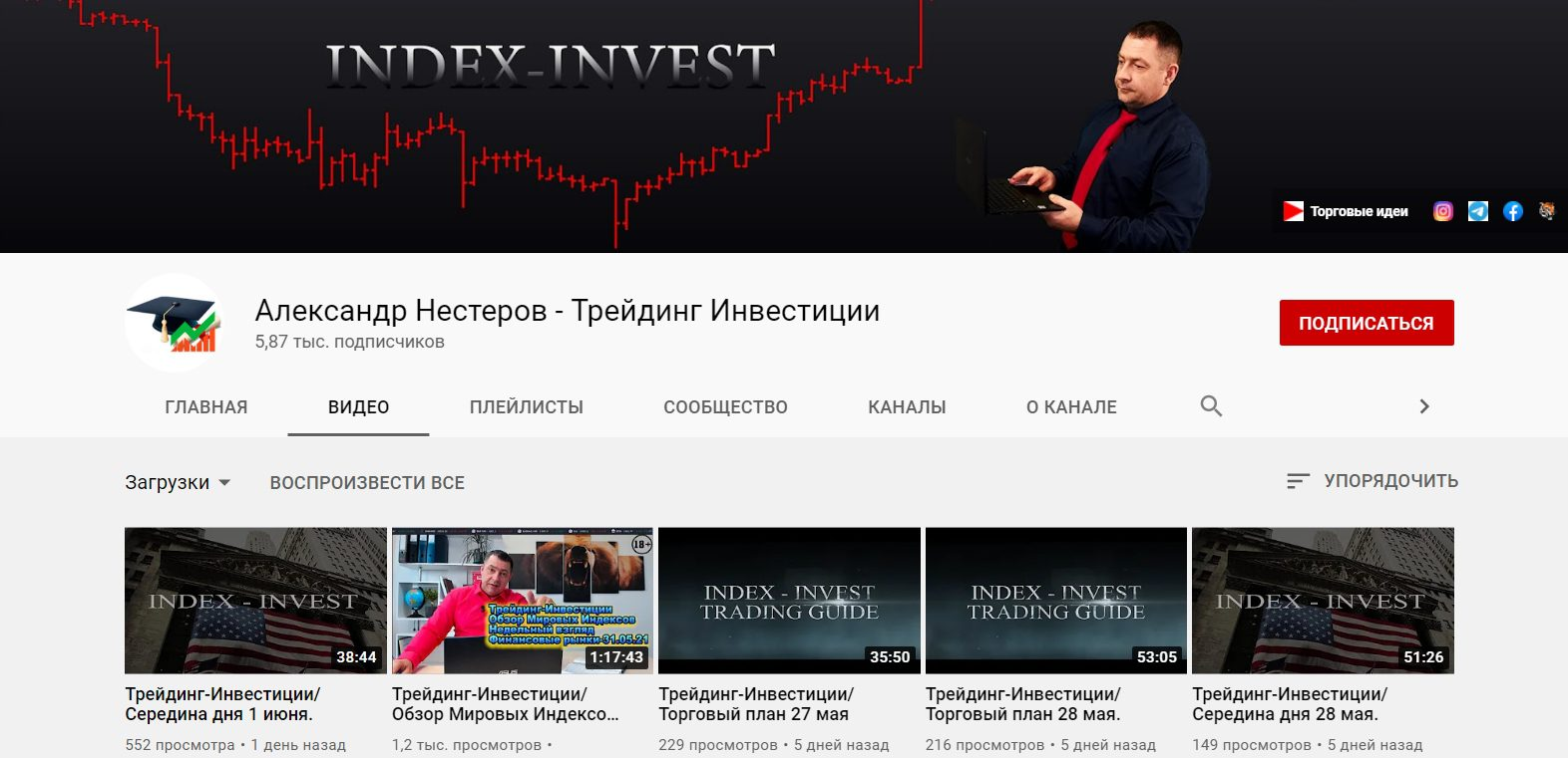 Ютуб канал Александра Нестерова