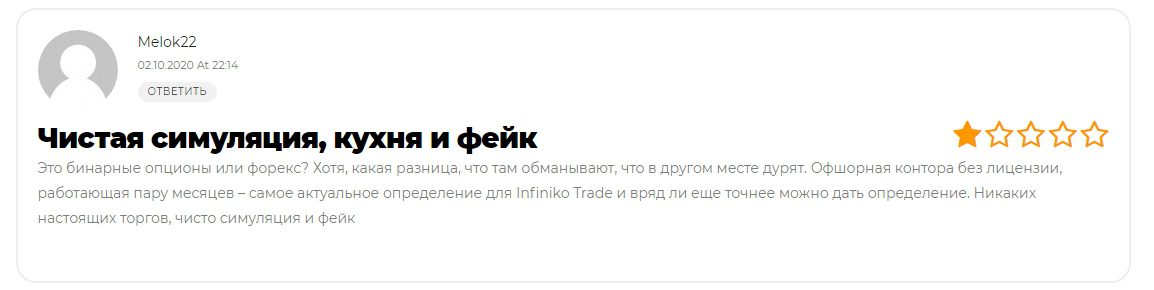 отзывы о работе Infiniko Trade