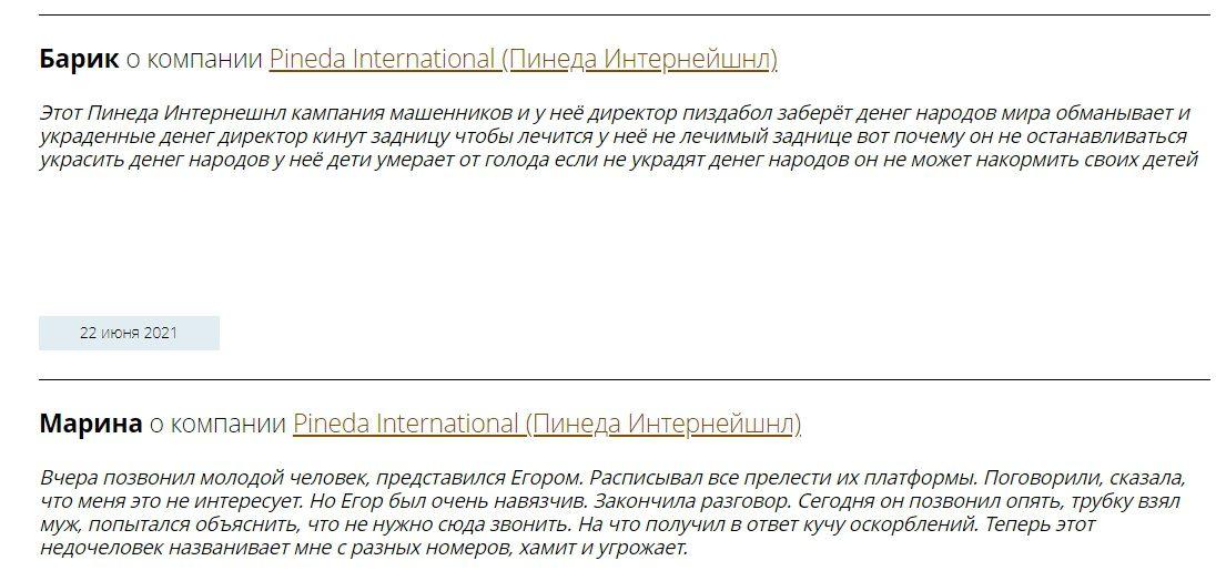 Реальные отзывы о работе Pineda International