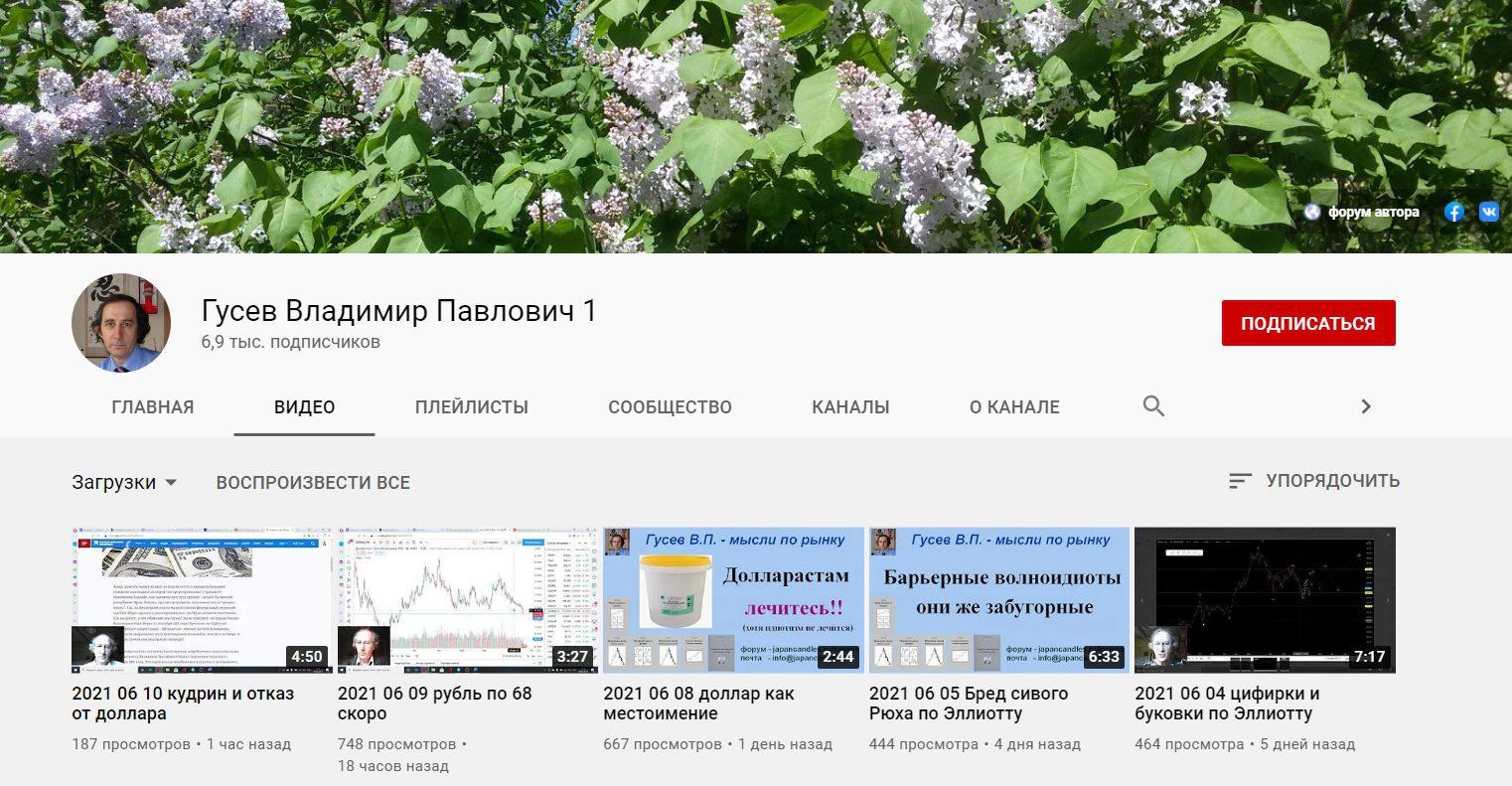 Ютуб канал Владимира Гусева