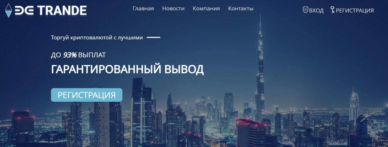 Сайт торговой платформы Би Тренд