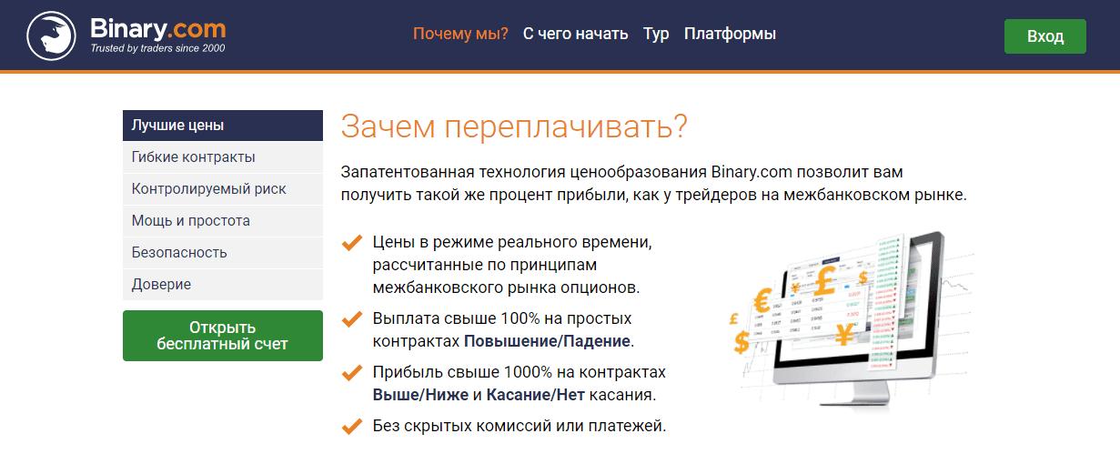 Торговые инструменты от Binary com