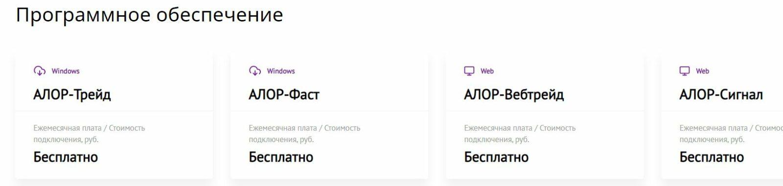 Программное обеспечение в АЛОР БРОКЕР
