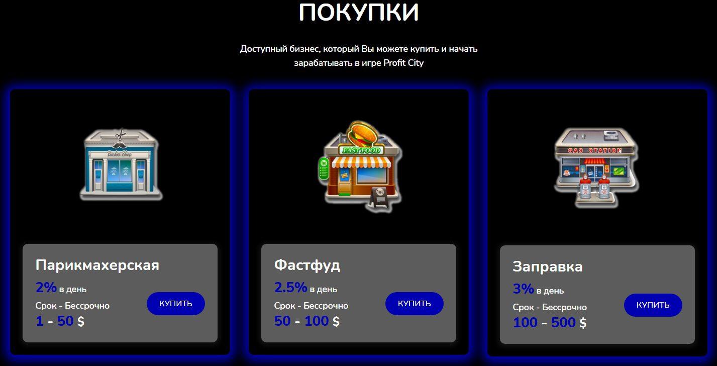 Варианты покупки на сайте Профит Сити