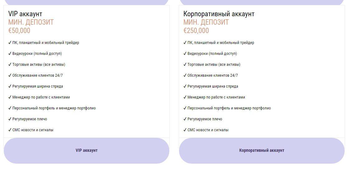 Варианты аккаунтов на платформе Finsa Investment Limited