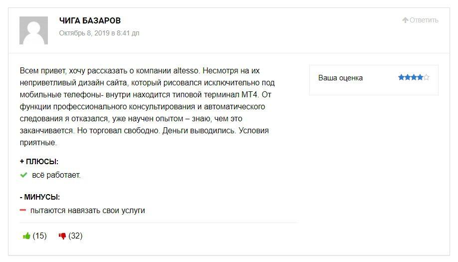 Реальные отзывы о брокере Altesso.com