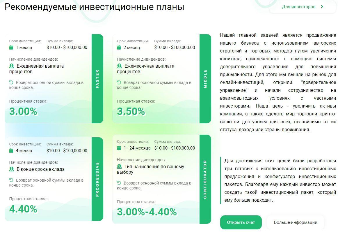 Рекомендуемые инвестиционные планы в Aura4Finance
