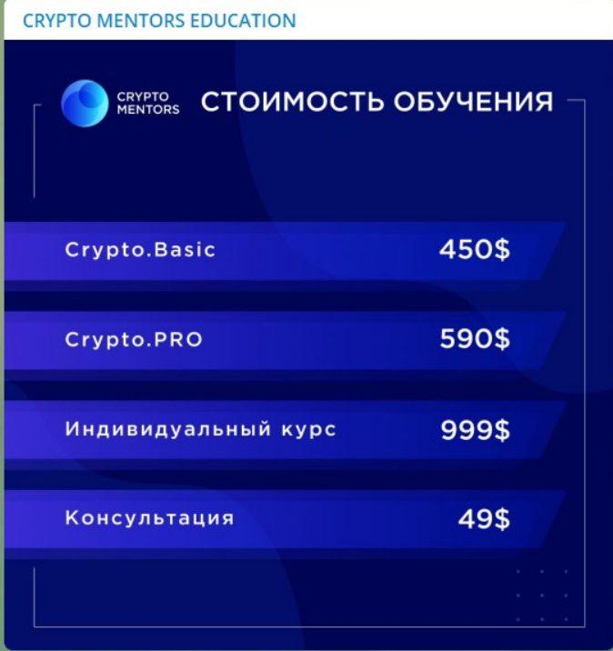 Стоимость обучение в Crypto Mentors
