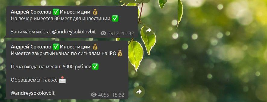 Стоимость закрытого канала Андрея Соколова