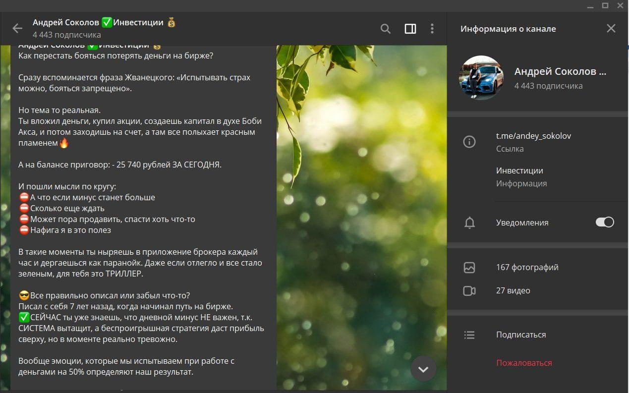 Телеграмм канал Андрея Соколова