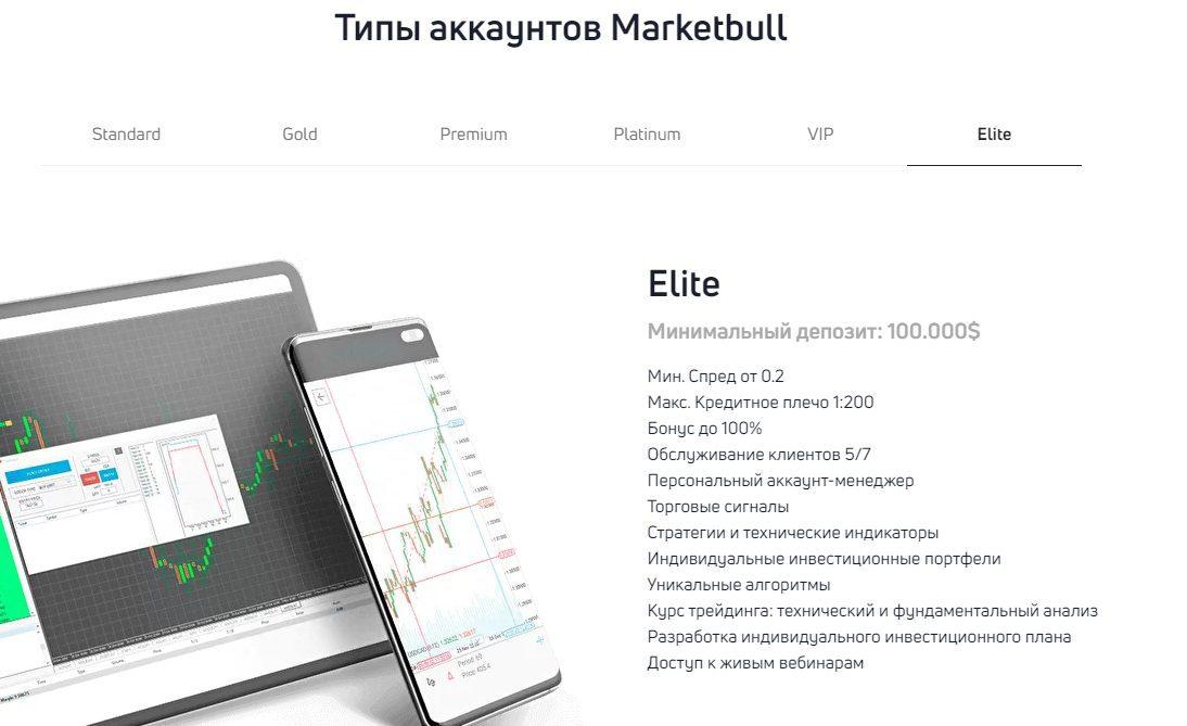 Типы аккаунтов Элит Market Bull