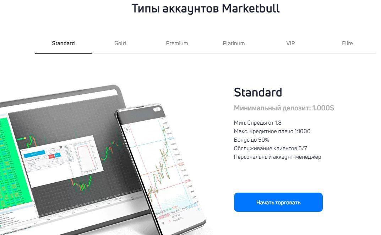 Типы аккаунтов стандарт Market Bull