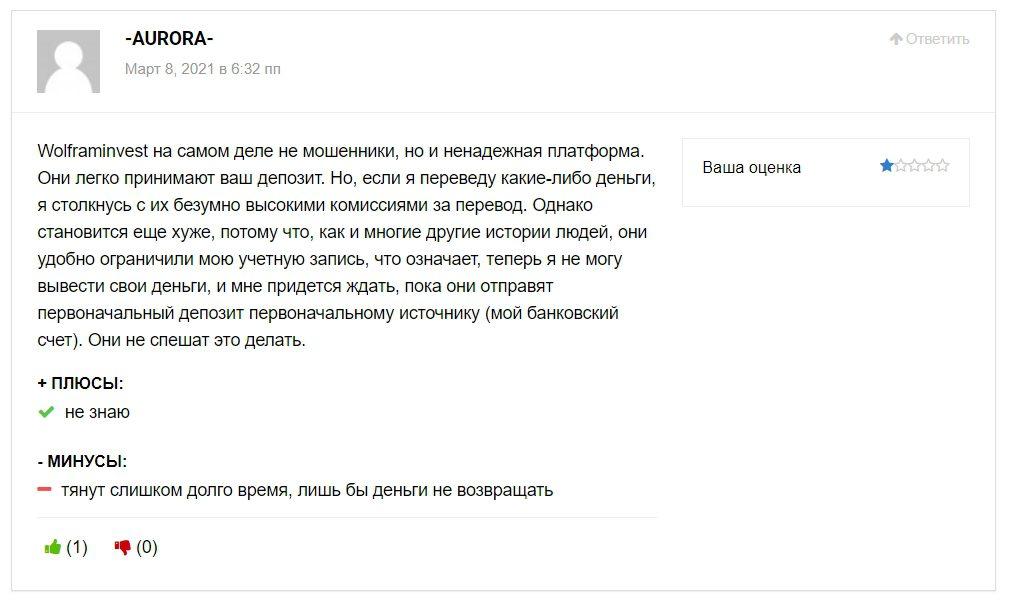 Wolframinvest отзывы