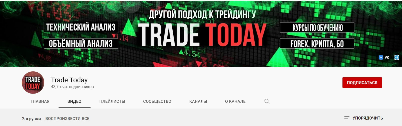 Ютуб-канал проекта Трейд Тудей