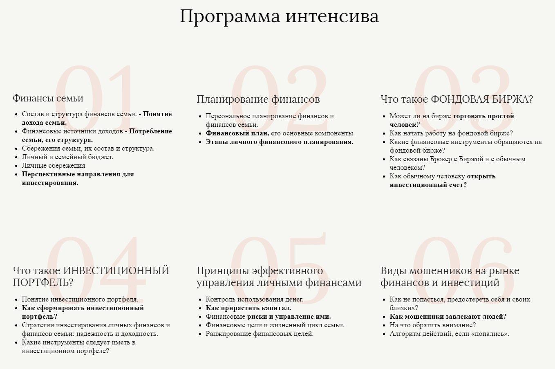 Программа интенсива Юлии Кузнецовой