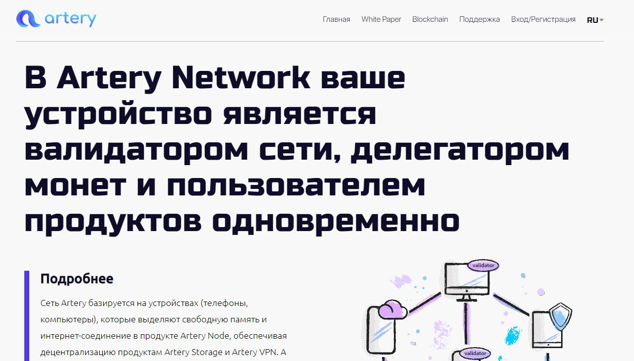 Сайт Artery Network